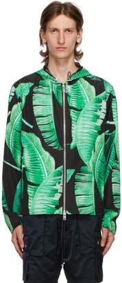Amiri Black and Green Banana Leaves Hooded Parka