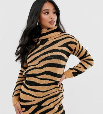 Brave Soul Petite zigby animal print roll neck jumper dress