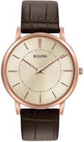 Bulova Men's Dress Brown Leather Strap Watch 40mm 97A126