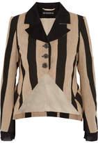 Ann Demeulemeester Striped Fleece Wool-blend And Canvas Blazer