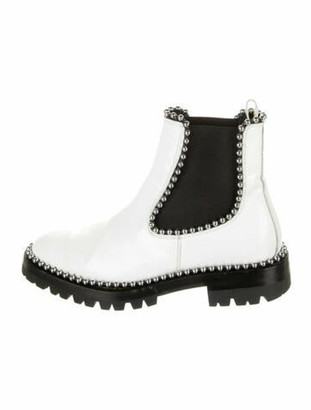 Alexander Wang Patent Leather Studded Accents Boots White