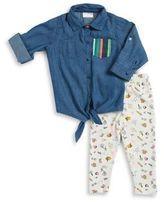 Rosie Pope Baby Baby Girl's Denim Top Printed Leggings and Headband Set