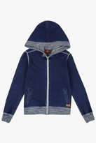 7 For All Mankind Boys 4-7 Knit Denim-Look French Terry With Marled Rib Knit Full-Zip Hoodie In Indigo