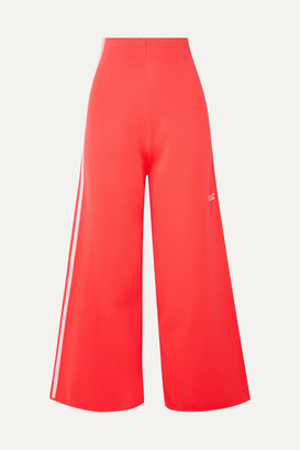 adidas Striped Stretch-knit Wide-leg Track Pants - Tomato red
