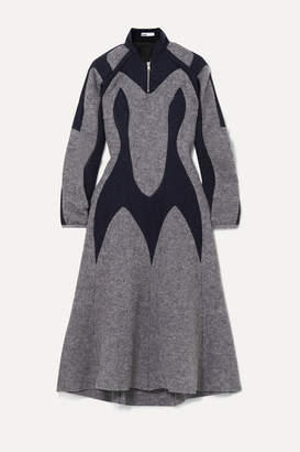 Gmbh GmbH - Arak Two-tone Paneled Wool-felt Midi Dress - Gray