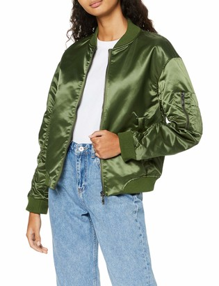 Find. Amazon Brand Women's Bomber Jacket Satin Long Sleeves Crew Neck