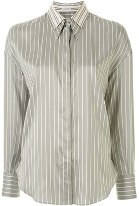 Brunello Cucinelli Double-Collar Striped Shirt