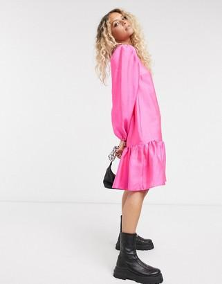 Vila drop hem smock dress in pink