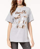 Hybrid Juniors' Oversized Metallic Graphic T-Shirt