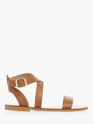 Dune Lottiie Leather Cross Strap Sandals, Tan