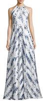 Carmen Marc Valvo Sleeveless Satin Floral Stripe Gown, Blue
