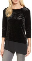 Chaus Women's Woven Hem Crushed Velvet Top