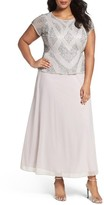 Pisarro Nights Plus Size Women's Beaded Mock Two-Piece Gown