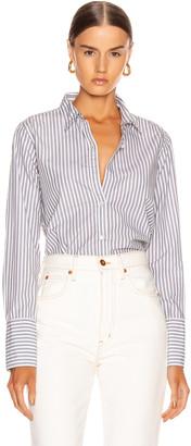 Nili Lotan Helen Shirt in Grey & White Stripe | FWRD