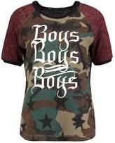 Replay Print Tshirt green/kaki/brown/black