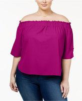 Rachel Roy Trendy Plus Size Smocked Off-The-Shoulder Top