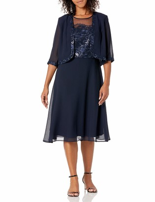 Le Bos Women's Embroidered Trim Jacket Dress