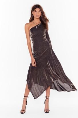 Nasty Gal Womens Hanky Panky Glitter One Shoulder Dress - Bronze