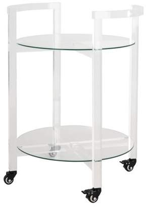 Safavieh Couture Jules 2-Tier Glam Acrylic Bar Cart with Casters