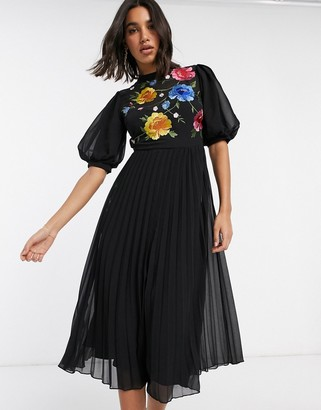 ASOS DESIGN embroidered high neck pleated midi dress with puff sleeve in black