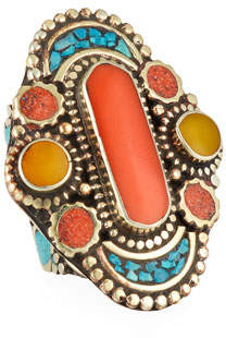 Devon Leigh Coral, Turquoise & Jade Ring