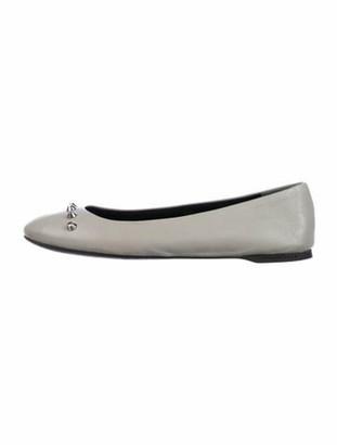 Balenciaga Leather Studded Accents Ballet Flats Grey
