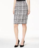 Kasper Plaid Jacquard Pencil Skirt