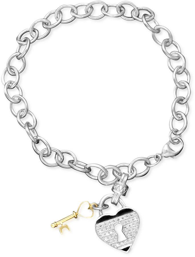 Sterling Silver Bracelet, Diamond Heart (1/5 ct. t.w.) and Key Charm