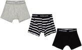 Bjorn Borg 3 Pack of Black, Grey and Stripe Trunks