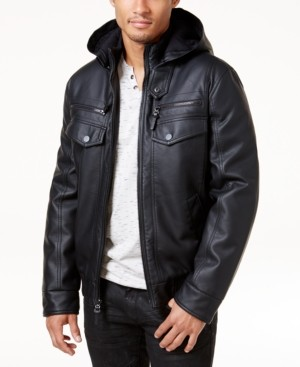 INC International Concepts Inc Men's Faux Leather Hooded Bomber Jacket, Created for Macy's