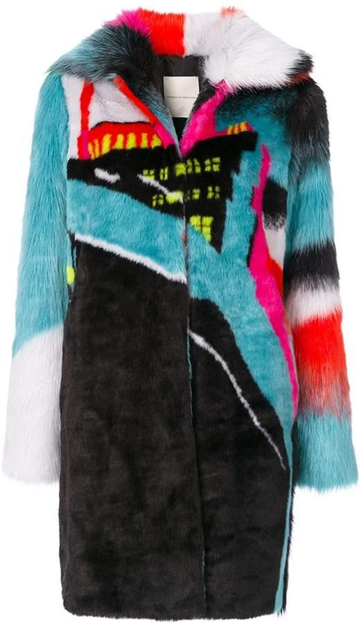 Marco De Vincenzo city print colour-blocked coat