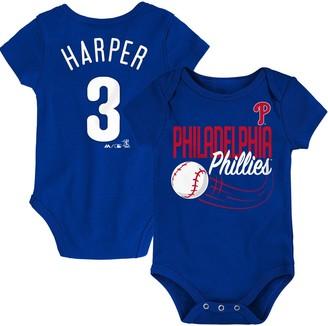 Majestic Bryce Harper Philadelphia Phillies Newborn & Infant Baby Slugger Name & Number Bodysuit - Royal