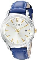 Akribos XXIV Women's Quartz Two-Tone Case with Gold-Tone Accented Silver Sunray Dial on Blue Glove Style Genuine Leather Strap Watch AK921BU