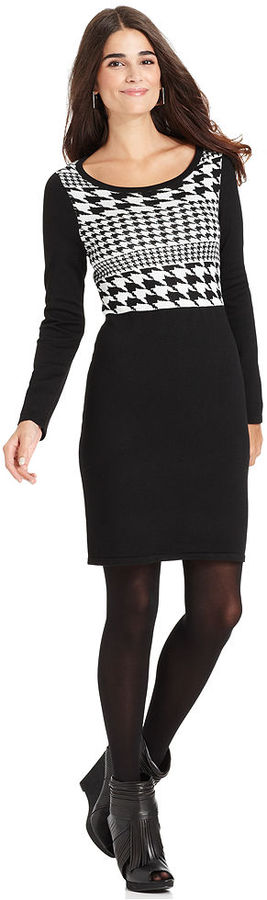 NY Collection Long-Sleeve Houndstooth-Print Sweater Dress