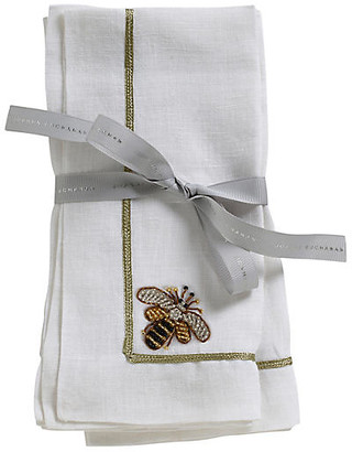 Joanna Buchanan Set of 2 Bee Dinner Napkins - White/Gold