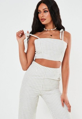 Missguided Stone Co Ord Gingham Tie Strap Crop Top