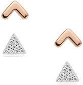 Fossil Sterling Silver Arrow and Triangle Duo Studs Set