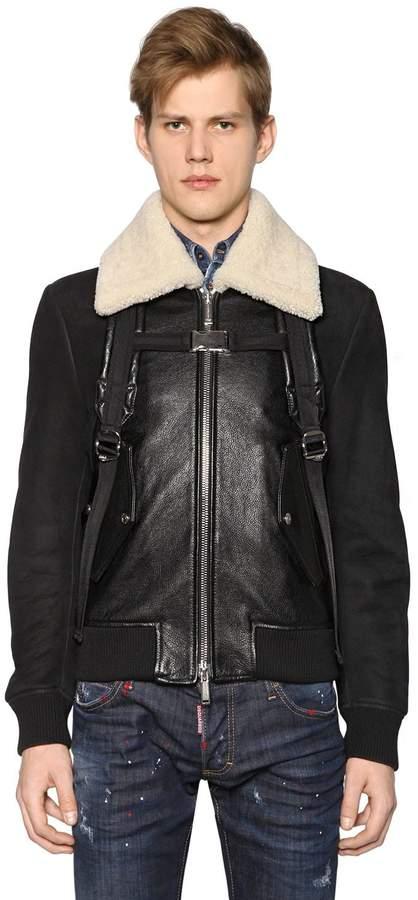 DSQUARED2 Leather Bomber Jacket W/ Shoulder Straps