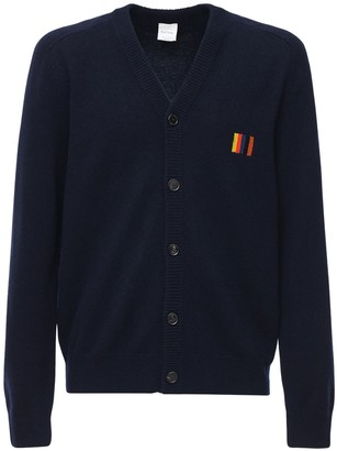 Paul Smith Wool Knit Cardigan W/ Embroidered Logo