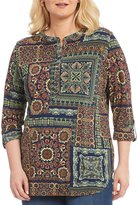 Peter Nygard Plus Printed Henley Tunic