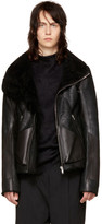 Rick Owens Black Shearling & Leather Geo Jacket