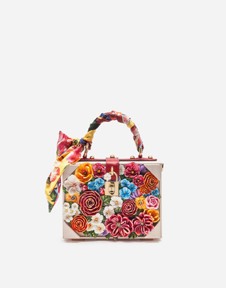 Dolce & Gabbana Dolce Box Bag In Resin With Embroidered Flowers