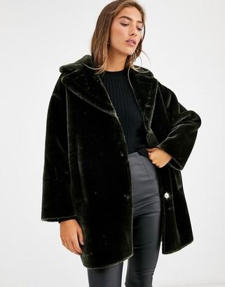 Asos DESIGN plush faux fur bonded overcoat in khaki