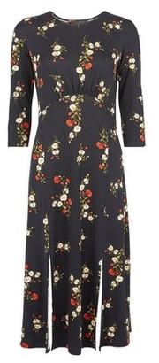 Dorothy Perkins Womens Black Floral Print Empire Midi Shift Dress