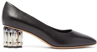 Salvatore Ferragamo Amina Faceted-heel Leather Pumps - Womens - Black