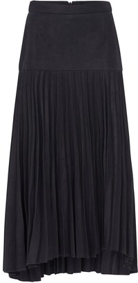West 14th Park Avenue Pleated Skirt Midnight Navy Leather