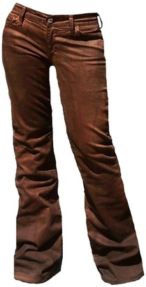 Fornarina Woman Jeans Brown Area Stretch Satin Wild Leather Look Rock Star Bootcut Flare Pant W32 L34