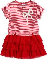 Mayoral Stripe-Top Dress w/ Tiered Tulle Skirt, Size 3-7