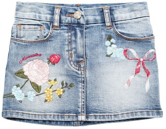 MonnaLisa EMBROIDERED STRETCH COTTON DENIM SKIRT
