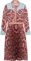 Gucci Paisley-print Plissé Silk-satin Dress - Pink